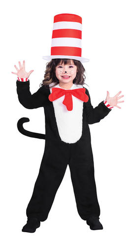 The Cat in the Hat Kids Fancy Dress Dr Seuss Boys Girls World Book Day Costume