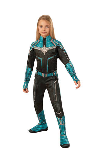 Captain Marvel Girls Fancy Dress Hero Kree Suit Kid Superhero Comic Book Costume