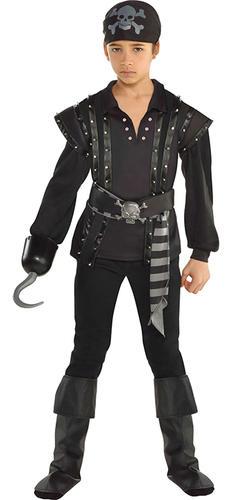 Dark Sea Scoundrel Boys Fancy Dress Pirate Buccaneer Kids Halloween Costume New