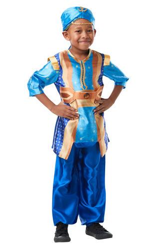 Genie Boys Fancy Dress Disney Live Action Aladdin Kids Arabian Fairytale Costume