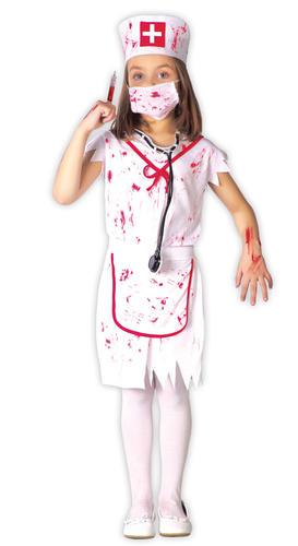 Zombie Infirmière Robe FANTAISIE Fille Horreur uniforme Kids Childs Costume Halloween Neuf