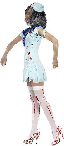 Zombie Sailor Girl Halloween Ladies Fancy Dress Navy Undead Uniform Costume New