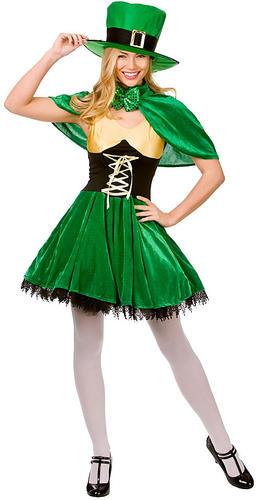 Lucky-Leprechaun-Lady-St-Patricks-Irish-Fancy-Dress-Ladies-Costume-Outfit-Hat