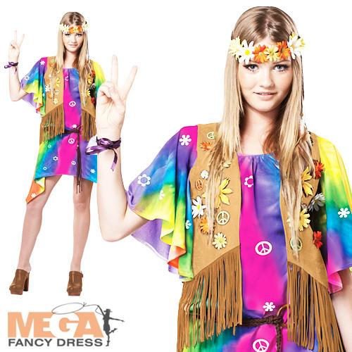 Image is loading Girls-Deluxe-Teen-Groovy-Hippy-Girl-1960s-1970s-  sc 1 st  eBay & Girls Deluxe Teen Groovy Hippy Girl 1960s-1970s Fancy Dress Hippie ...