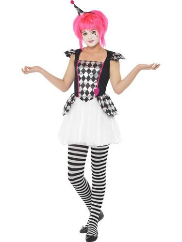 Pierrot clown girls teen fancy dress halloween circus party costume ages 10 15 y ebay - Deguisement halloween ado ...