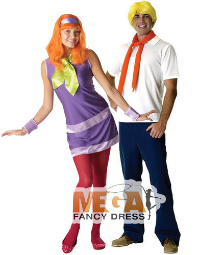 Scooby-Doo-Daphne-Fred-Couple-Fancy-Dress-Costume-Mens-Ladies-Outfits-Wigs