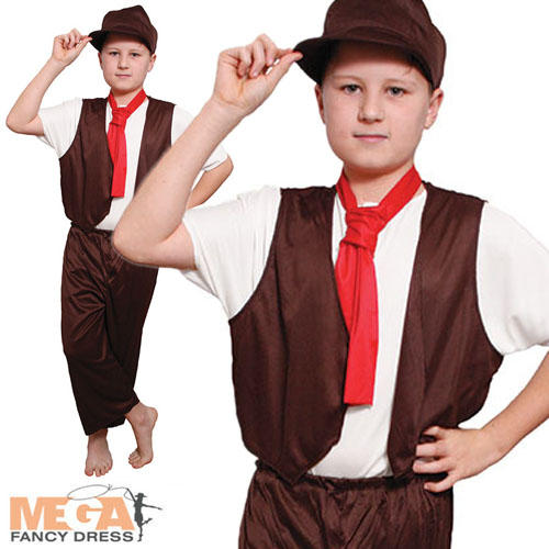 Victorian-Poor-Boys-Fancy-Dress-Book-Day-Oliver-Twist-Kids-Costume-Ages-6-12