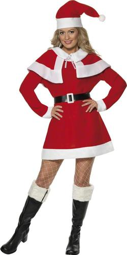 Miss Santa Claus Ladies Fancy Dress Mrs Christmas Festive Xmas Adult Costume New