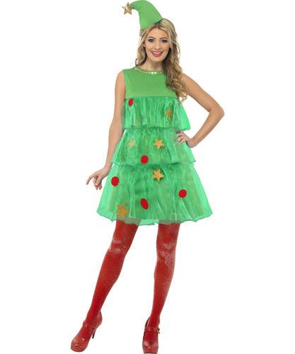 Christmas Tree Dress Costume: Sexy Ladies Christmas Fancy Dress Festive Xmas Holiday