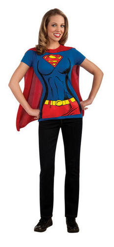 Superhero-Ladies-T-Shirt-Cape-Set-Fancy-Dress-Costume-Top-Adult-Sizes-UK-8-18