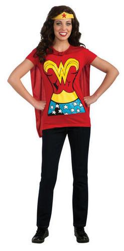 Superhero-Ladies-T-Shirt-Cape-Set-Fancy-Dress-Costume-Top-Adult-Sizes-UK-8-18