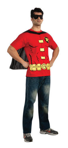 Superhero-Mens-T-Shirt-Cape-Set-Fancy-Dress-Costume-Super-Hero-Adult-Top-New