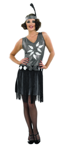 1920s cocktail fancy dress ladies flapper charleston 20s costume outfit uk 8 30. Black Bedroom Furniture Sets. Home Design Ideas
