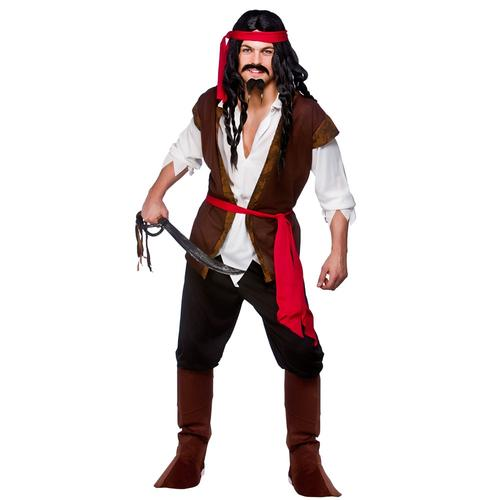 Caribbean Pirate Mens Fancy Dress Ship Mate Adults World Book Day Costume Outfit