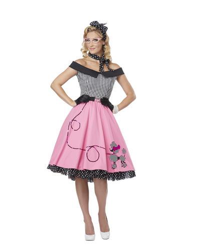 Pink Poodle 50s Fancy Dress Ladies Rock N