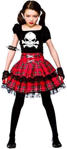 Freaky Punk Rock Chick Girls Fancy Dress Up Halloween Kids Child Costume Outfit | eBay