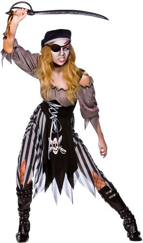 Eyepatch Adults Fancy Dress Halloween Horror Costume Outfit New Zombie Pirate