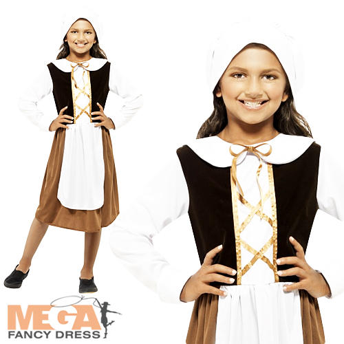 Poor-Tudor-Dress-Girls-Fancy-Dress-Medieval-Book-Week-Childs-Costume-Outfit-New