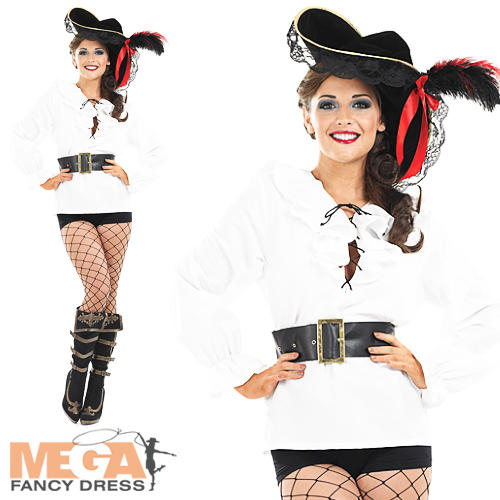 White Ladies Pirate Shirt with Belt Fancy Dress Pirates Womens Costume Adult Top