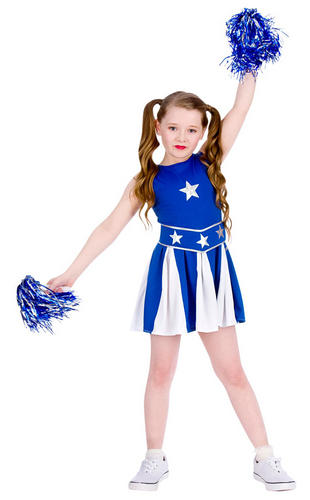 Blue Cheerleader Girls Fancy Dress Sports High School Uniform Kids Costume New | eBay