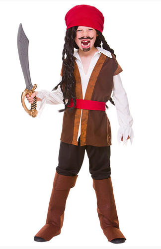 Caribbean Pirate Boys Fancy Dress Kids Halloween Book Party Child Costume Outfit
