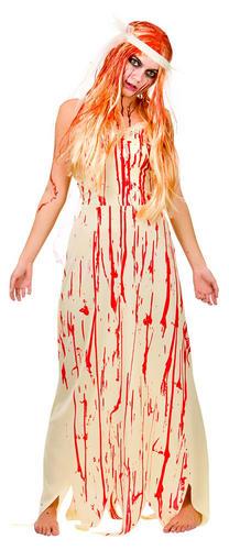 Bloody Bride//Prom Girl Ladies Halloween Fancy Dress Womens Zombie Adults Costume