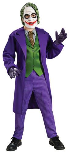 Deluxe The Joker Fancy Dress Batman Villian Boys Halloween Kids Costume + Mask