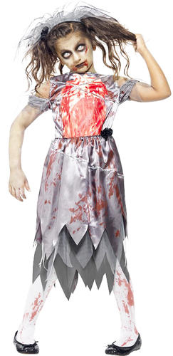 Zombie Bride Girls Halloween Fancy Dress Fairytale Horror Kids Childrens Costume