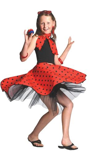Rock N Roll Skirt Childs Fancy Dress 1950s Polka Dot 50s