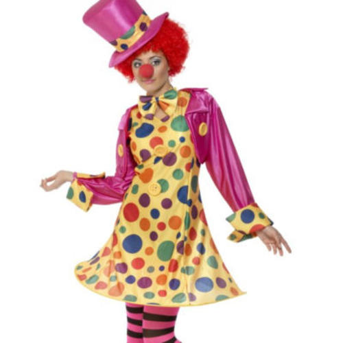 Clown-Dress-Tights-Hat-Ladies-Circus-Fancy-Dress-Womens-Fun-Costume-Outfit