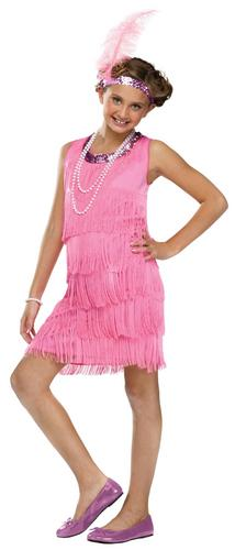 Pink Flapper Girls 1920s Fancy Dress Kids 20s Great Gatsby ...