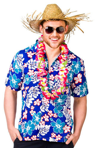 Hawaiian shirts straw hat mens fancy dress beach party for Hawaiian shirt fancy dress