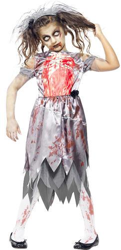 Zombie Girls Blood Halloween Fancy Dress Party Horror Kids Childrens Costumes