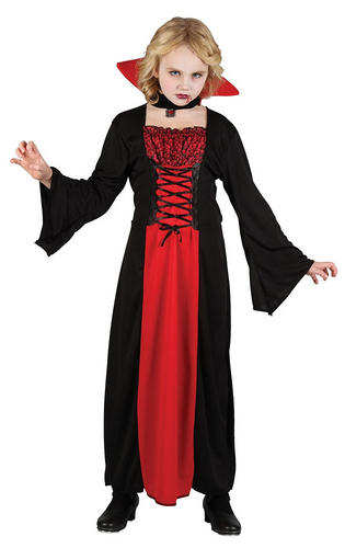 Vampiress Girls Halloween Fancy Dress Vampire Kids Childrens Childs Costume New