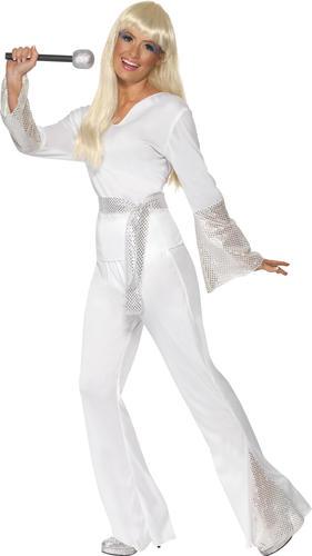 Disco Dancing Queen + Microphone Ladies Fancy Dress 70s Abba Womens 1970 Costume