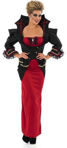 Deluxe Vampiress Halloween Ladies Fancy Dress Womens Adult Vampire Costume 8-30