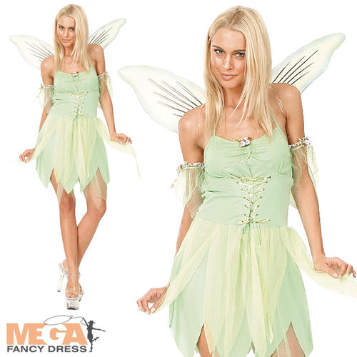 Tinkerbell-Fairy-Wings-Ladies-Fancy-Dress-Fairytale-Neverland-Womens-Costume