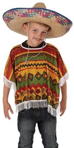Mexican Poncho Kids Fancy Dress Wild West Bandit Boys ...