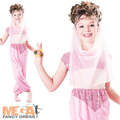 Arabian nights pink princess girls fancy dress kids jasmine kids child
