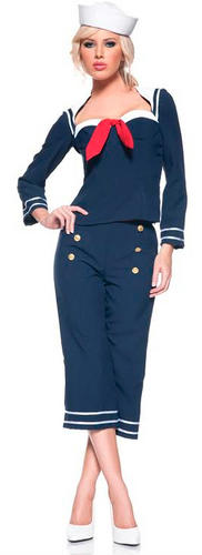 Hat Ladies Fancy Dress Navy Military Uniform Womens Costume New Pin Up Sailor