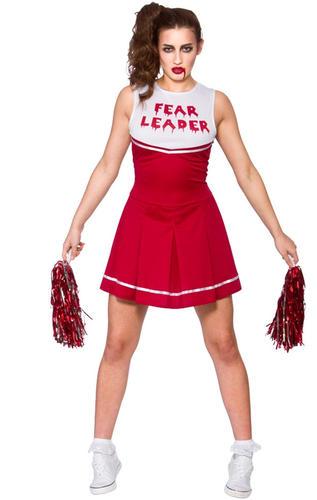 Blood Ladies Fancy Dress Halloween Horror Womens Costume Zombie Cheerleader