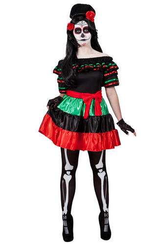 Day Of The Dead Ladies Fancy Dress Mexican Undead Adults