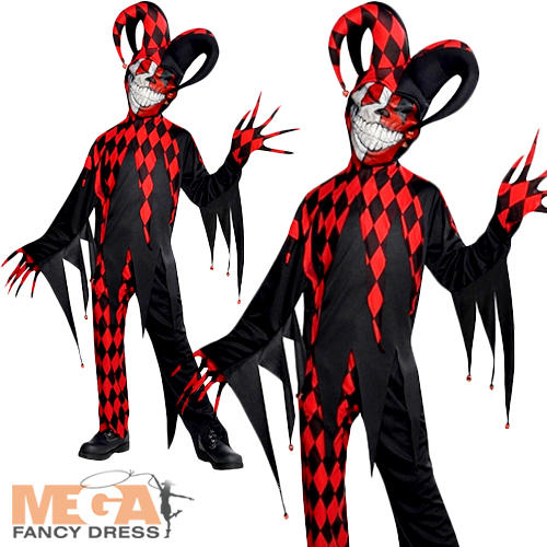 image is loading crazy jester clown boys fancy dress halloween joker - Joker Halloween Costume Kids