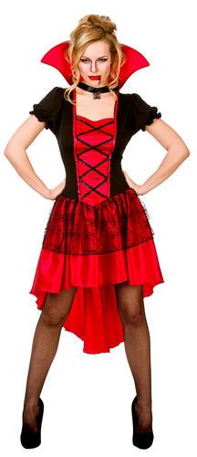 Blood Halloween Ladies Fancy Dress Womens Adult Costume Outfit Fangs Vampire