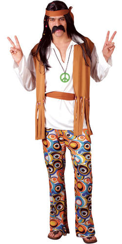 Woodstock-Hippie-1960s-Mens-Fancy-Dress-Hippy-1970s-Adult-60s-70s-Costume-Outfit