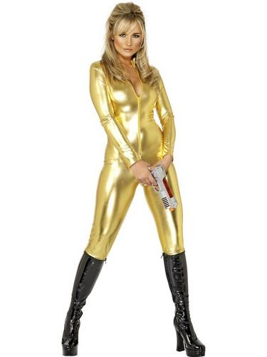 gold catsuit james bond girl 007 ladies golden cat suit fancy dress costume 8 18 ebay. Black Bedroom Furniture Sets. Home Design Ideas