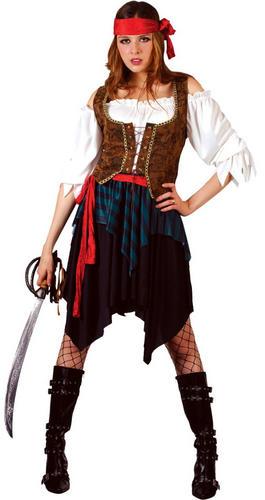Caribbean Pirate Ladies Fancy Dress Halloween Buccaneer Womens Costume Outfit