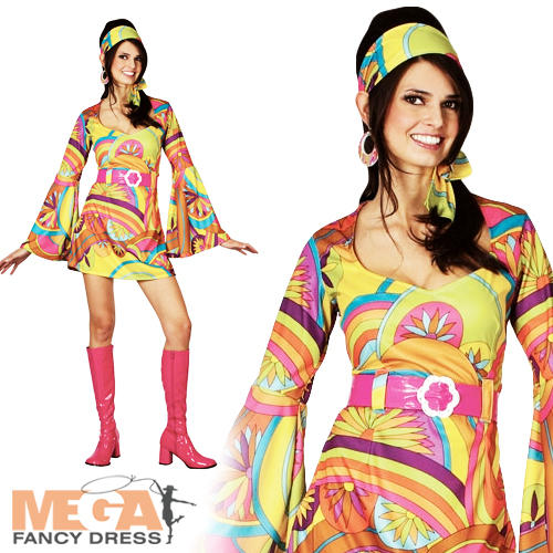 Retro-Go-Go-Hippy-Girl-Fancy-Dress-Hippie-1960s-1970s-Ladies-Adult-Costume-NEW