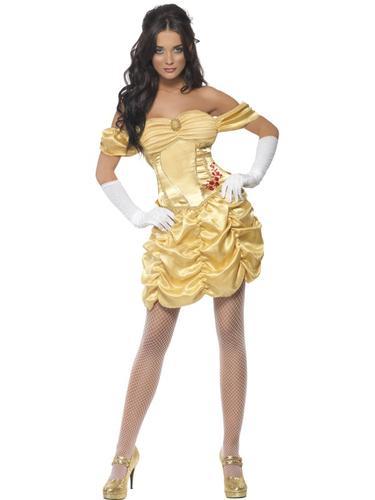 Princess Belle Ladies Fairytale Fancy Dress Adult Costume Womens Outfit UK 8-18