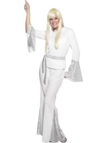 1970s-Abba-Disco-Lady-Fancy-Dress-Womens-White-70s-Style-Ladies-Costume-Suit